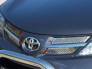 QAA fits 2013-2015 Toyota Rav4 (4 Piece Stainless Front Grille Accent Trim, Insert Package) SG13180