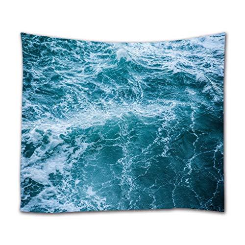 A.Monamour Tapices Océano Tormenta Olas del Mar Textura De Agua Azul Arte Abstracto Impresión Tela De Poliéster Tapiz Tapices Decoraciones De Pared Cortinas para El Hogar 180x200cm