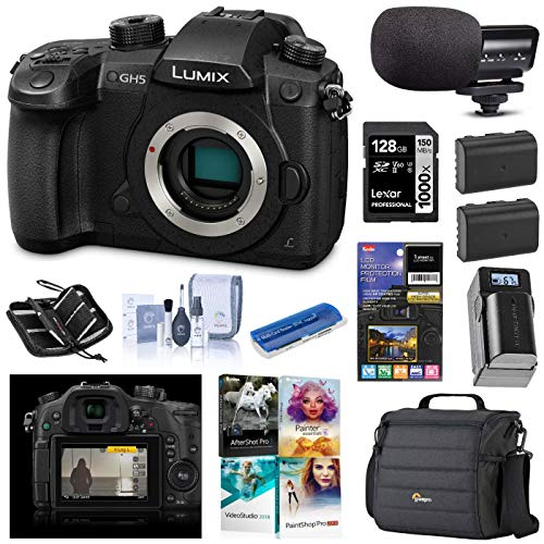 Panasonic LUMIX GH5 4K Mirrorless Digital Camera, 20.3 Megapixel DC-GH5 (Body), Bundle with V-Log L Upgrade Kit, Mic, Bag, 2 Battery, Charger, Corel PC Software, 128GB SD Card + Essential Accessories