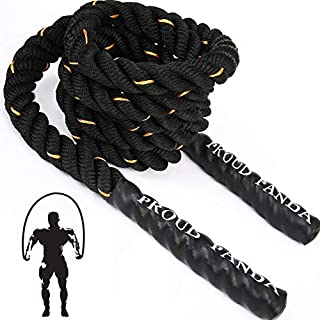 Heavy Jump Ropes for Fitness 3LB, Weighted Adult Skipping Rope Exercise Battle Ropes for Men & Women, Total Body Workouts, Power Training in Gym to Improve Strength and Building Muscle(1'' *9.2 ft)