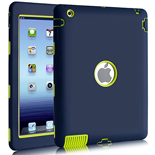 BENTOBEN Silicone Case for iPad 2, iPad 3 Case Kids, iPad 4 Case Shockproof, Three Layer Hybrid Hard PC Soft TPU Bumper Heavy Duty Full Body Protective Case Covers for iPad 2/3 / 4 - Navy Blue