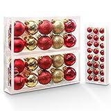 Yorbay 44 Palline per Albero di Natale, con Gancio, Natale Decorazioni, Addobbi e Decorazioni per Ricorrenze (Oro e Rosso)