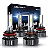 SEALIGHT Scoparc S1 H11 9005 LED Headlight Bulb Kit,High Beam Low Beam,6000K Bright White,Halogen Replacement,Quick Installation
