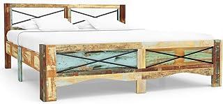 Tidyard Cadre de Lit en Bois de Récupération Massif Construction Solide Style Naturel 180 x 200 cm (Matelas Non Inclus)