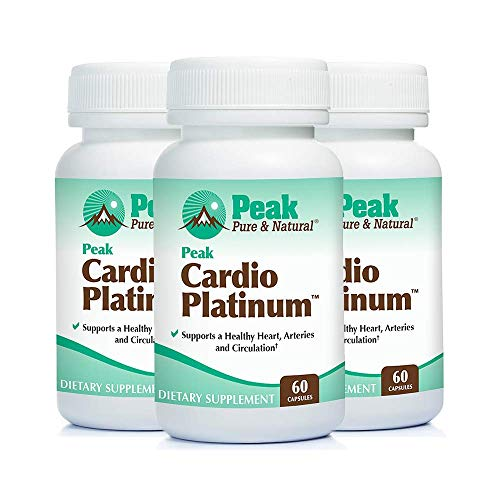 Peak Cardio Platinum by Peak Pure & Natural | Vitamin K2 as MK7 Supplement for Healthy Arteries and Circulation | Nitric Oxide and Nattokinase for Better Blood Flow (3 Bottle Pack)