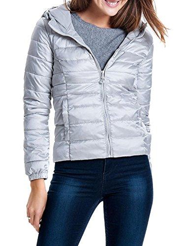ONLY Damen onlTAHOE Shimmer Hooded Jacket CC OTW Jacke, Grau (Silver Silver), 36 (Herstellergröße: S)