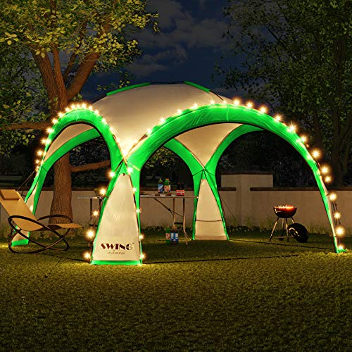 Swing & Harmonie LED Event Gazebo 3.6 x 3.6 m Dome Shelter Garden Gazebo with Solar Panel Pavilion Designer Garden Tent Camping Gazebo Party Tent with Lighting