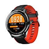 Hoteon FT01 1.3 inches Full Touchscreen and Round Dial Display Customized Smartwatch with IP68 Waterproof, Fitness Tracker, Pedometer , Heart Rate for Men and Women (Red)