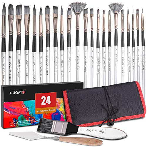 of paint brush cases Professional Artist Paint Brush Set of 24-23 Different Shapes + Mixing Knife with Organizing Case, Painting Brushes Kit for Artist & Beginner, for Acrylic, Watercolor, Gouache, Oil, Paint by Number