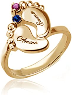 Infinity Silver Rings Heart Shaped Birthstones Engraved Ring Personalized Name Ring Promise Rings Made Gift for Her