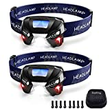 SupKing Headlamp 2-Pack,USB Rechargeable Headlight,Brightest LED Flashlight,Adjustable Red Light,Easy to Carry,8 Helmet Clips Free,Head Lamp for Camping,Hunting,Construction Site