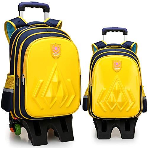 ZZLHHD Lentejuelas Mochila con Ruedas Niña,Bolsa de mudanza para niños, Mochila de Corbata Resistente al Desgaste-Yellow_Six-Round High,Trolley de Ruedas para niños