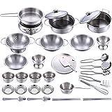 TONGJI Kinderküche Geschirr Set, 32 Stück Edelstahl Kochutensilien Set Küchenspielzeug Koch Set Kochen Spielzeug für Kinder Rollenspiel