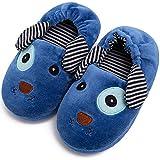 Toddler Boys Girls Cute Slippers Unicorn Fluffy Fuzzy Winter Warm Slippers Cartoon Animal Plush Indoor House Slip-on Shoes (Blue Dog, Numeric_11)