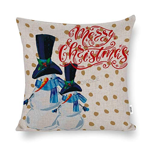 DKISEE Christmas Snow-man Decorative Throw Pillow Cover, Cotton Linen Holiday Pillow Case, Novelty Modern Pillow Cushion Waist Cover for Sofa Bed Couch Decor, 20x20 Inch, SDS569
