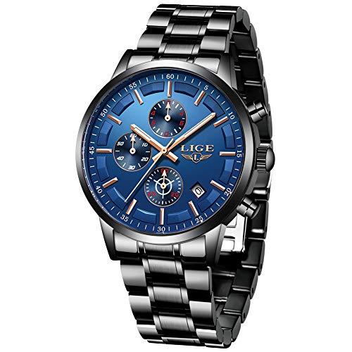 LIGE Herren Uhren Edelstahl Wasserdicht Männer Armbanduhr Elegant Analog Quarz Schwarz Blau Herrenuhr Sport Chronograph Kalender Markenuhren