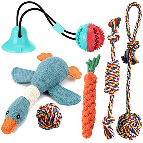 BlUESPACE 6 Pack Durable Puppy Chew Toys for Teething Small Dogs,Interactive Suction Cup Dog Toy Pack ,Funny Cute Duck Squeaky Toys Keep Your Puppies Busy, Natural Cotton Ropes Non-Toxic and Safe