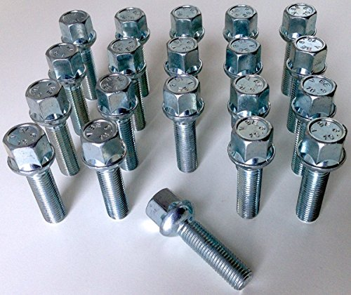 Lot de 20 écrous pour roues en alliage - Filetage M12 x 1,5, 40 mm de long, tête hexagonale de 17 mm, base conique