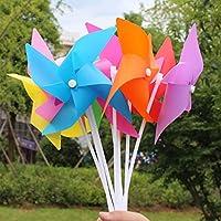 風車玩具 DIYキット 半完成 花風車 自己組み立て 手芸 おもちゃ 贈り物 全100枚セット 8カラー - レッド