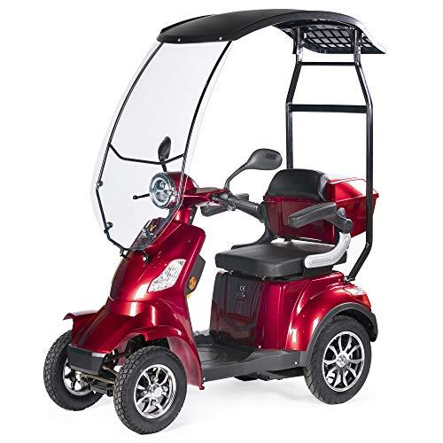 VELECO Scooter Elettrico con un tetto 4 Ruote Disabili, Anziani 25km/h 1000W FASTER (Rosso)
