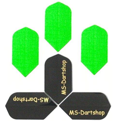 MS-DARTSHOP Dart-Flights Nylon Slim, 3 Sätze = 9 Stück, incl. 1 Satz MS-DARTSHOP Flights (Neon-Grün)