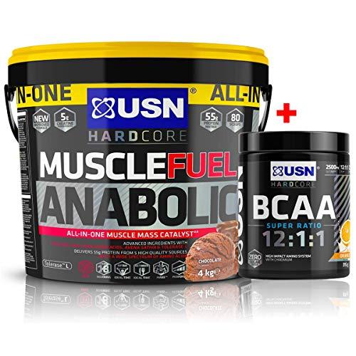 USN Muscle Fuel Anabolic Muslce Gain Shake 4KG + USN Amino GRO 300g (35 Servings) (Caramel Popcorn)