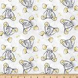 David Textiles Sleepytime Elephants Flannel Grey Fabric by The Yard
