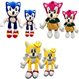 7.87/11in Sonic Plush Set 6 , Sonic Plushies Include Knuckles Plush/Amy Plush/Shadow Plush/Silver Plush/Miles Prower Plush/Classic Plush for Fans Gifts (Amy+Sonic+Mile)