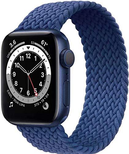 Fengyiyuda Solo Loop Intrecciato Compatible con Cinturino Apple Watch 38mm 40mm 42mm 44mm, Sportiva Nylon Ricambio Elastica Cinturino Compatible con Iwatch Series 6/5/4/3/2/1/SE,Atlantic Blue,42-7