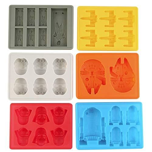 1 juego de 6 moldes de silicona para cubitos de hielo de Star Wars, Falcon, R2D2, Storm Trooper, X-Wing, Darth Vader, Hans Solo