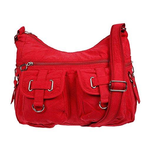 Christian Wippermann® - Bolso al hombro de Lona para mujer Rojo rojo 32 x 26 x 13 cm