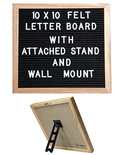 Black Felt Letter Board Sign - Attached Stand, 10 x 10 inches, Oak Wood Frame, 300 White Changeable Letters, and 2 Bonus Canvas Bags; Great for Teachers, Photographers, Social Media