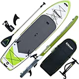 Elkton Outdoors Grebe Inflatable Fishing Paddle Board - 12 ft Fishing SUP Package, Fishing Rod...