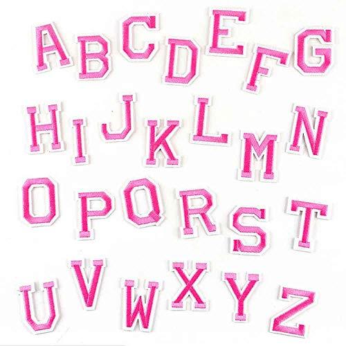 Pegatinas Para La Ropa 26 Unids / Lote Rosa Bordado Letras Del Alfabeto Parche De Ropa-N (Rosa