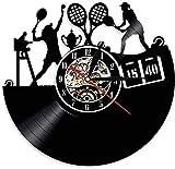 SSCLOCK Reloj de Pared de Vinilo Reloj de Pared Led Reloj de Cuarzo silencioso Retro Reloj de Pared temático de Juego de Tenis único Decoración del hogar