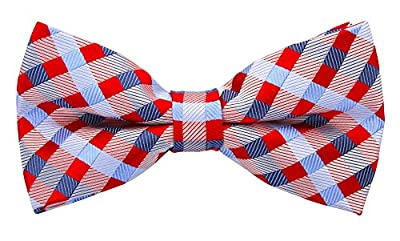 Red & Blue Striped Bow Tie - Pre-Tied Bowties for Men - Red and Blue Wedding Bow ties for Groom