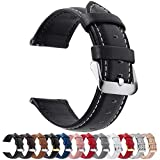 Fullmosa 12 Colors for Quick Release Leather Watch Strap, Axus Genuine Leather Watch Band 20mm Black