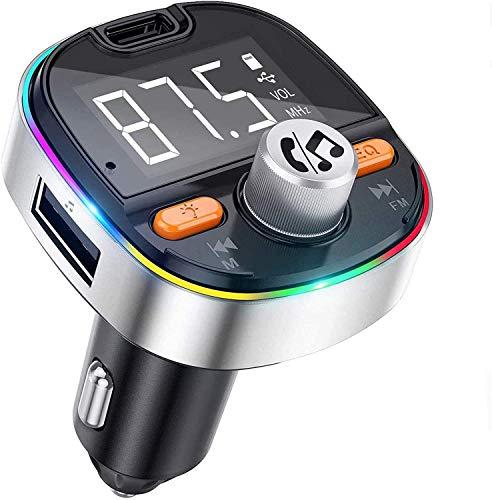 Trasmettitore FM Bluetooth per Auto MEKUULA Vivavoce Bluetooth per Auto con 2 USB e PD3.0 Porte,Bass booster,Funzione di Memoria,Supporta Scheda TF/U Disk,Attivazione Siri/Google,7 Colori Controluce