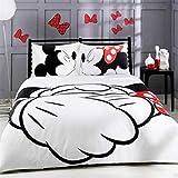 XWXBB Mickey - Juego de cama (3 piezas, funda nórdica de Mickey y funda de almohada), diseño de Minnie Mouse Funda Nórdica y Funda de Almohada Microfibra 3D Cama Dormitorio, King 220x240cm