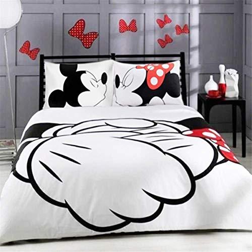 XWXBB Juego de ropa de cama de microfibra de Mickey y Minnie, 3 piezas, con funda nórdica y funda de almohada, microfibra, funda de edredón 3D para dormitorio (doble 200 x 200 cm)