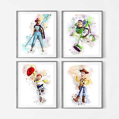 Disney Toy Story Watercolor Wall Art. Buzz. Woody. Jessie. Bo Peep. Nursery Wall Art. 4 Set of 8x10. Unframed