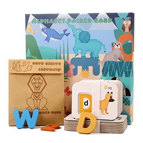 KanCai Bloques de Letras de Madera ABC Abecedario Tablero del Alfabeto Niños Niños Preescolar Aprendizaje Temprano Juguetes Educativos