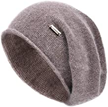 jaxmonoy Cashmere Slouchy Knit Beanie Hat for Women Winter Soft Warm Ladies Fleece Wool Knitted Skull Beanies Cap - Brown