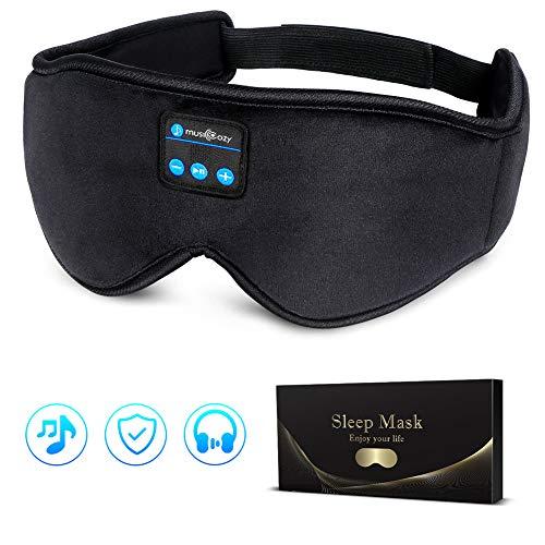 LC-dolida Schlafkopfhörer Bluetooth- Schlafmaske Musik Augenmaske Lichtblockierende Schlafbrille mit kabellosen 5.0 Headset, Weich & Bequem für Nickerchen, Schlafen, Yoga und Reisen, Waschbar