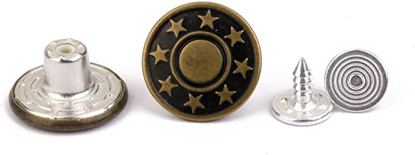 ULTNICE 50pcs Jeans bouton 17mm étoiles mat Jean Tack boutons Kit Army Green