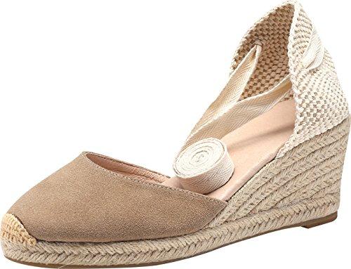 SimpleC Zapatos de Cuña de Tobillo con Tacón de Tobillo Clásico para Mujer, Sandalias de Alpargatas Pompom de Piel de Oveja Beige37