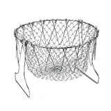 Foldable Fry Basket,Chef Basket, Multi-Function Stainless Steel Fry Chef Basket,Poaching Boiling Deep Frying Basket,Fruit Vegetable Rinsing Washing Cook Tool
