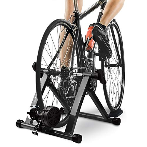 """Bike Trainer Stand with 8 Resistance Setting, Portable 27""""-29"""" Indoor Bicycle Trainer w Quiet Noise Reduction - Stationary Cycling Exercise for Road & Mountain Bikes"""
