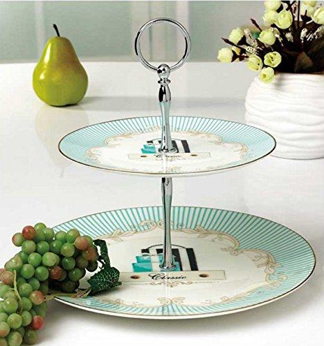 KayraHome FineBoneChina Présentoir à gâteaux 2 étages en porcelaine Blanc/turquoise