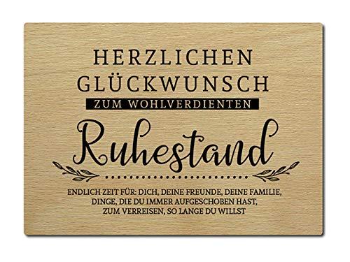Interluxe Postkarte aus Holz Herzlichen Glückwunsch zum wohlverdienten Ruhestand Rentner Rente DIN A6 105x148mm Karte Echtholz Grußkarte Spruch